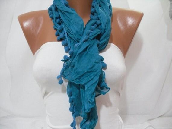 Women turquoise  Shawl Scarf - Headband Necklace Cowl