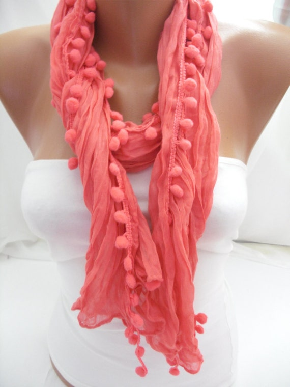 Hot Pink Pompom Shawl/Scarf - Headband Necklace