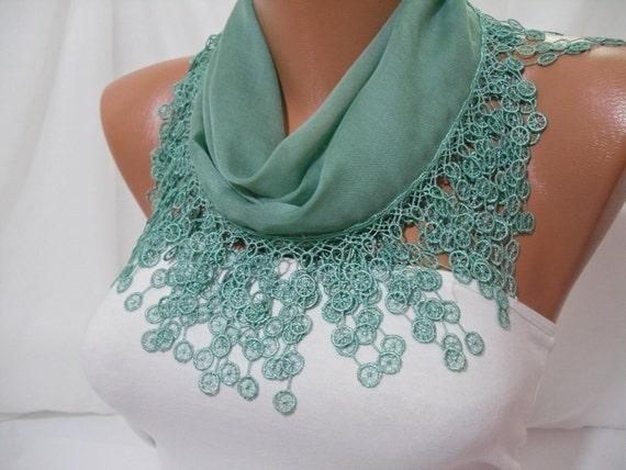 Women  Green Cotton Shawl / Scarf - Headband - Cowl with Lace Edge - Spring Summer Trends