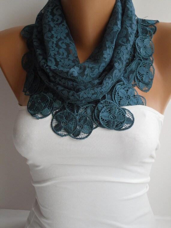 Dark Teal Blue Lace Scarf- Shawl Headband - Cowl with Lace Edge