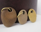 Coffee, Mocha, Caramel Colors Drilled Lake Michigan Beachstones with Large Brass Jumprings for Jewelry and Bead Supply