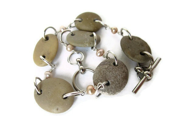 Six Stone Beachstone Bracelet with Glass Pink Pearl and Silver Connectors and Silver and Chrome Findings