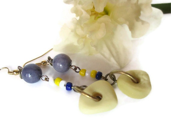 SALE - Pretty Pastels Yellow Milk-Glass Sea-Glass from England with Vintage Yellow, Blue and White Glass Beads - Earrings