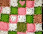 Baby Rag Quilt with hand made chenille, appliques and rag hearts
