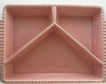 Pink Stoneware Sectioned Serving Plate Dish, 1950s Made in USA, Pink Divided Childs Dish