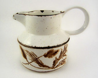 Enamel Stoneware Creamer English Harvest Wheat Pattern, Mini Pitcher