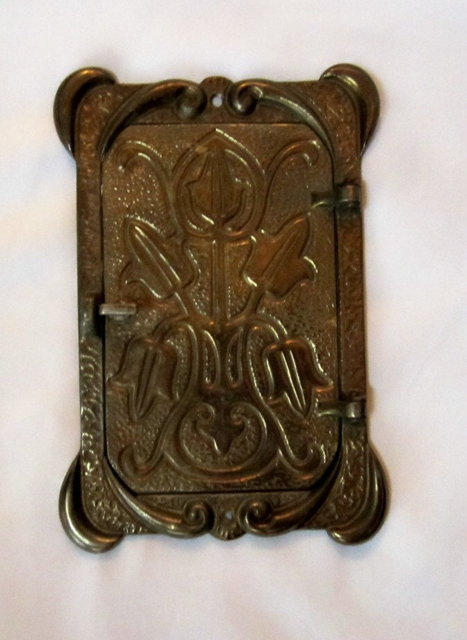 Door hardware vintage solid brass peep hole latch cover plate - Antique peephole ...
