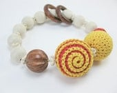 Teething bracelet. Sunny days .Baby sling accessories. Babywearing bracelet. Wooden toy