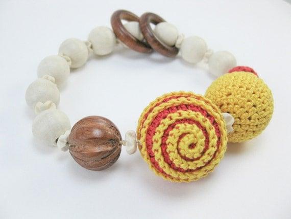 Teething bracelet. Sunny days .Baby sling accessories. Babywearing bracelet. Wooden toy