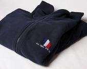 Navy blue spitfire embroidered fleece
