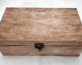 Antiqued Rustic Wood Card Box or Keepsake or Wedding Book Holder Box