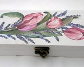 White Wood Ringbearer Box with tulip and lavender decoupage