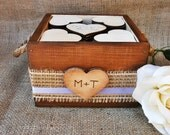 Wedding Guest Book Rustic Wood Planter Box with 150 Heart Tags Alternative Guestbook
