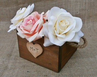 Wedding Centerpiece Rustic Planter Boxes, Wedding Decoration Table Settings Flower Box - Set of 10