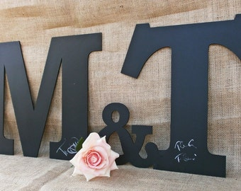 XLarge Chalkboard Letters And Ampersand Alternative Wedding Guest Book Chalkboard with Expedited Delivery