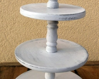 3 Tier Cupcake Stand - Rustic White Wedding