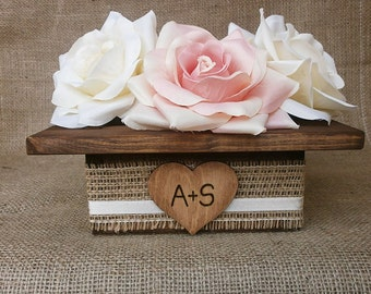 Wedding Wood Planter Box Centerpiece with Rustic Burlap Ribbon Custom Wood Heart Tag Garden Party Utensil Holder - Set of 12