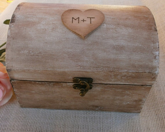 Wooden Wedding Gift Card Box : Rustic Vintage Wood Wedding Card Box Decor with custom initials in a ...