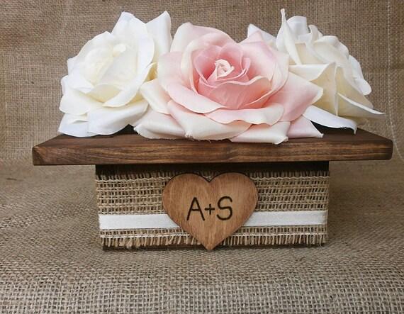 Wedding Wood Planter Box Centerpiece with Rustic Burlap Ribbon Custom Wood Heart Tag Garden Party Utensil Holder - Set of 12