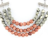 Pyrite and goldstone layered color blocking necklace