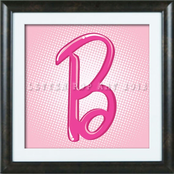 Alphabet Pop Art Print Using Barbie Logo Letter B