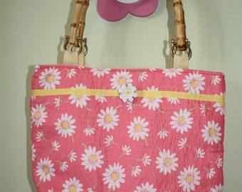 Coral Daisy Floral Purse With Bamboo Handles