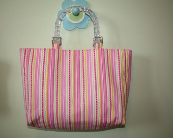 Pink And Green Striped Purse with Clear Plastic Handles