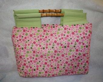 Pink and Green Polka Dot Tote