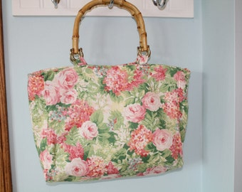 Green And Pink Floral Purse With Bamboo Handles