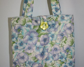 Small Blue, Lavender And Green Petunia Floral Tote
