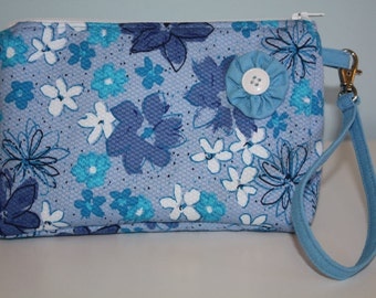 Blue and Turquoise Floral Wristlet