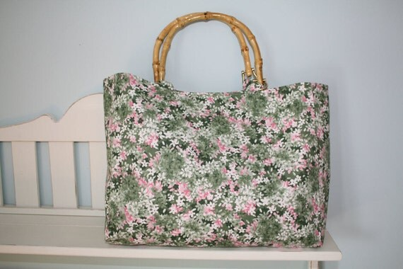 Hand-made Pink and Green Cotton Floral Purse with Bamboo-Handles