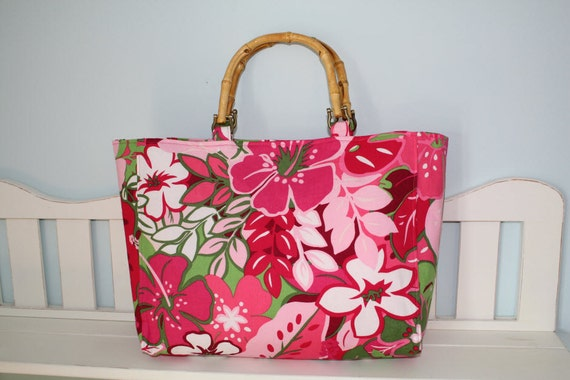 Tropical Floral Purse With Wooden Handles