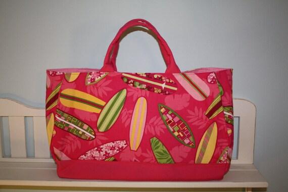 Tropical Surfboard Tote Bag