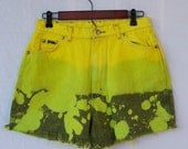 "SALE Vintage 1990s high waisted shorts LEE Riders ombre denim shorts cut offs yellow green dip dye 30"" waist"