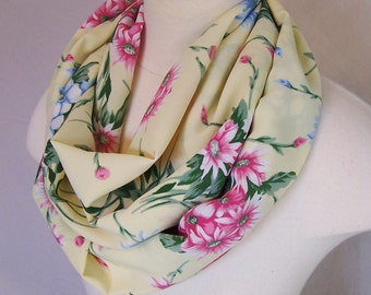 Floral infinity scarf pastel circle yellow pink blue women summer eternity bohemian loop cowl ditsy floral made from vintage fabric