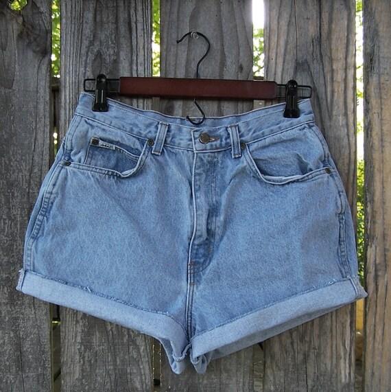 "Vintage 1980s CHIC jeans high waisted shorts / cut offs / frayed hem /  blue denim / 28"" waist / Made in USA"