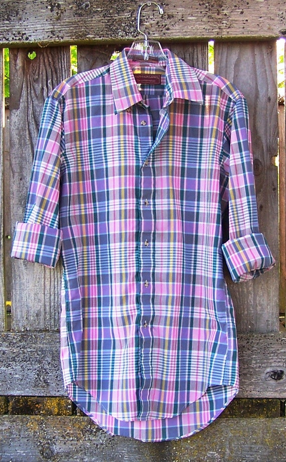 1990s oxford plaid button down boyfriend shirt / long sleeve / cotton shirt grunge / paper thin / pink purple teal white