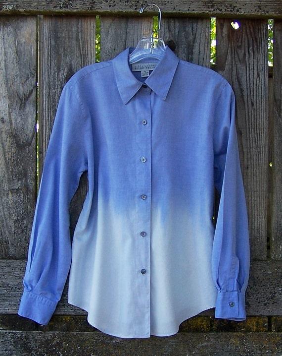 Vintage buttondown shirt / grunge / ombre dip dye bleached / long sleeve oxford / cotton linen womens shirt size 10