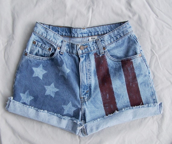 "American flag shorts / Vintage LEVIS 550 cut offs / High Waisted denim shorts / 30"" waist"