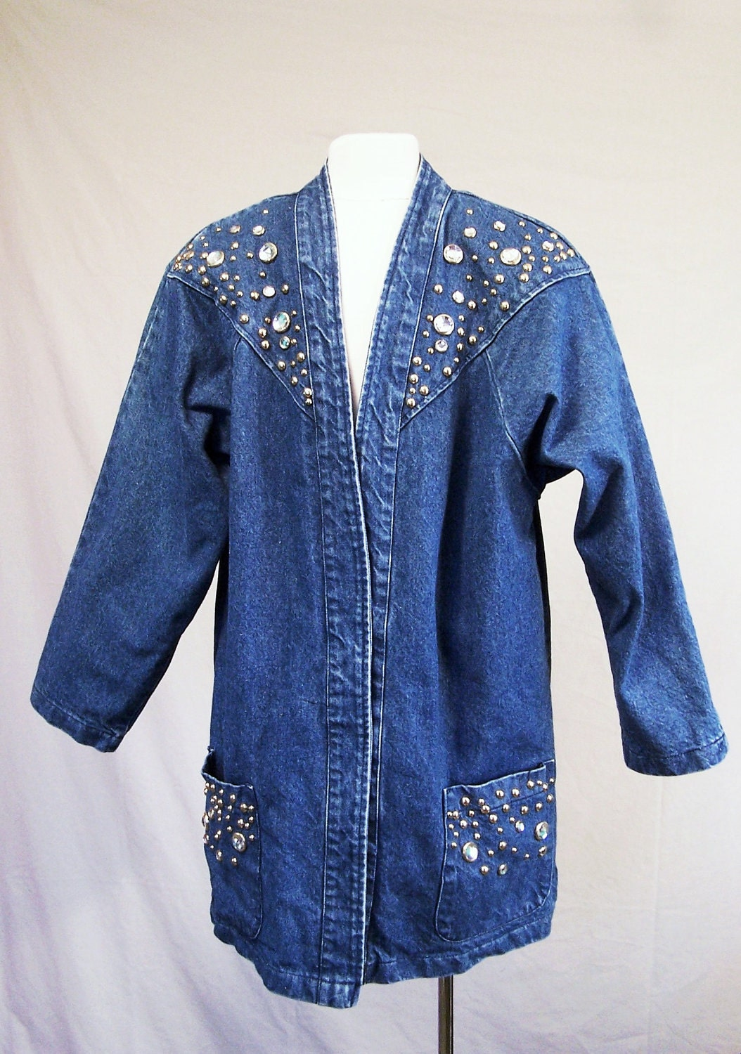 Reserved Studded Denim Jacket Rhinestones Jean Jacket Blazer