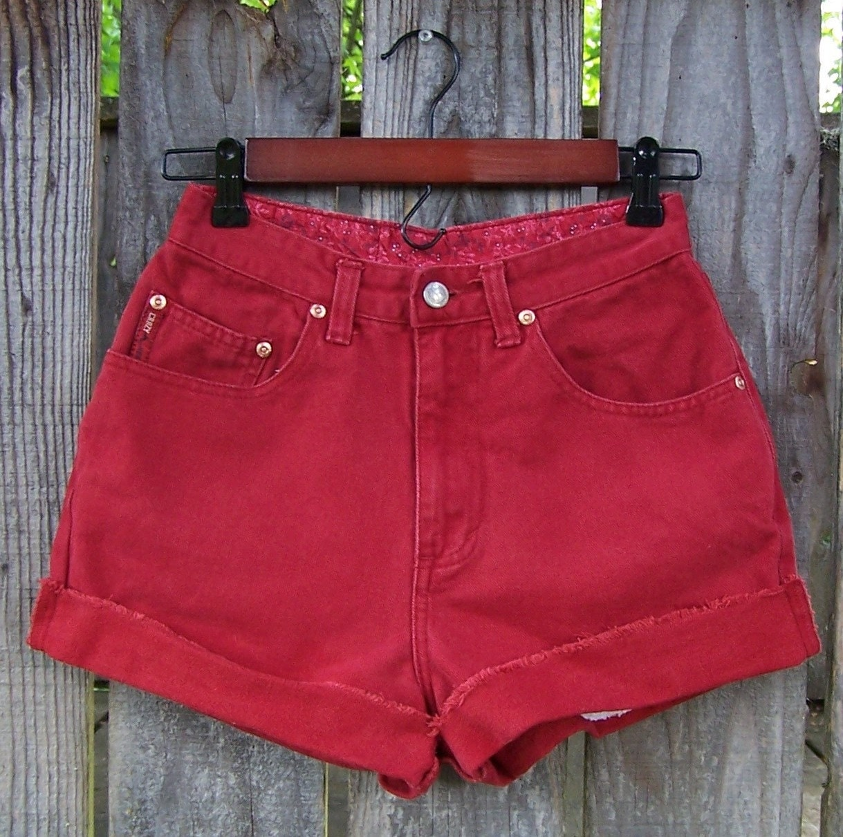 Red High Waisted Jean Shorts - Xtellar Jeans