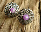 Silver and Lavender Post Earrings - Circular Filigree