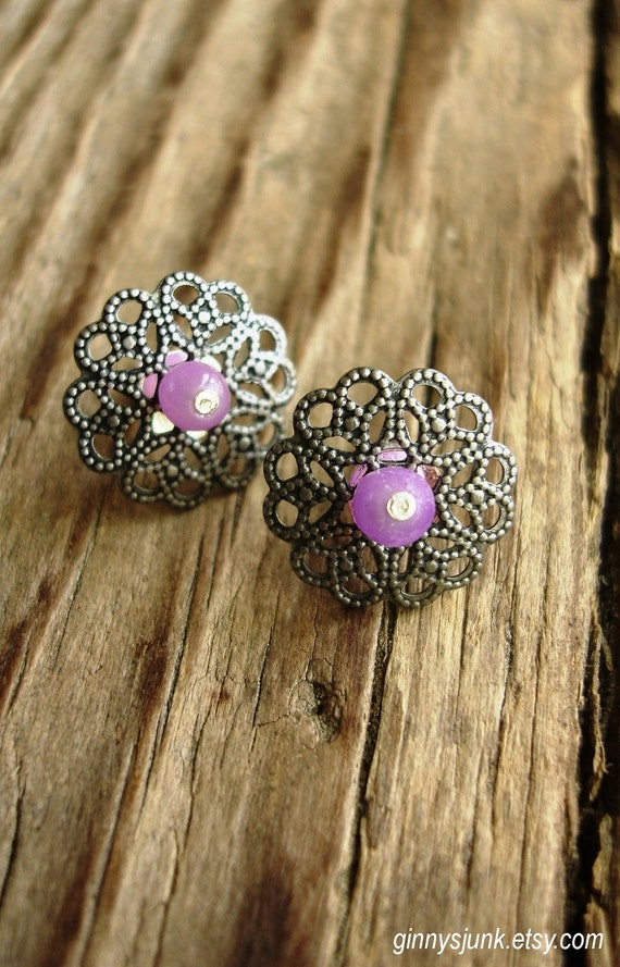 Silver and Lavender Post Earrings - Circular Filigree