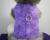 Dog Harness Vest  - Lt.. Purple and lavender  Butterfly / flowers
