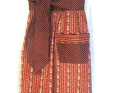 Classic Bib apron in Rust, Brown and Tan Print