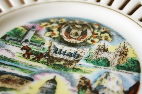 Vintage Utah State Souvenir Dish or Plate With Mormon Temple and State Highlights