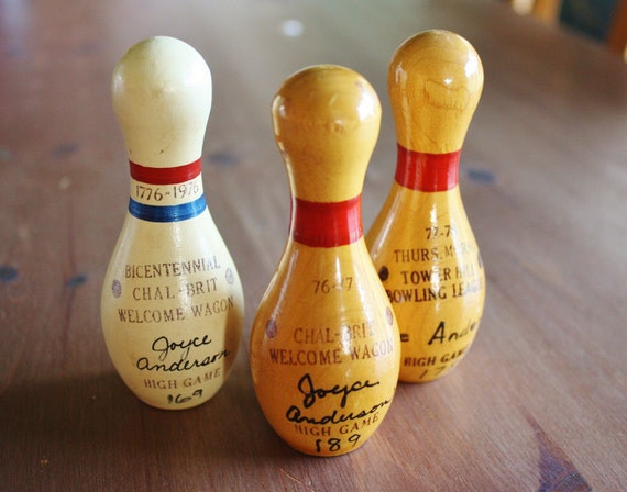 Vintage Bowling Trophy Trophies - Mini Wooden Bowling Pins