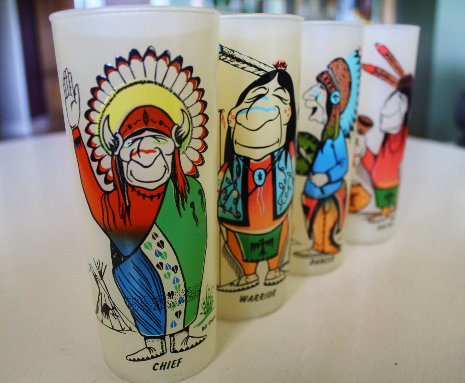 Vintage Set Of 4 Indian Or Native American Frosted By Adoannies