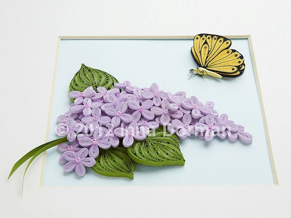 Wall art: Butterfly and lilac flowers. Framed with glass, OOAK. Paper filigree / quilling.